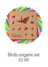 Birds origami paper set