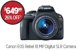 Canon EOS Rebel 18 MP Digital SLR Camera  - $649.99 - 26% off‡