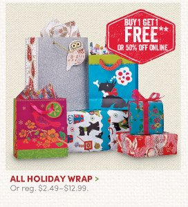 All Holiday Wrap – Buy One, Get One FREE!