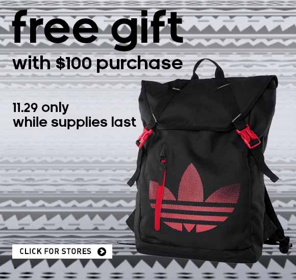 free gift with $100 purchase. 11.29 only while supplies last. click for stores.