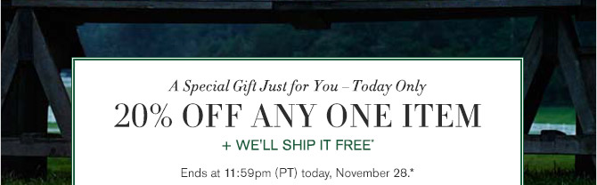 A Special Gift Just for You - Today Only -- 20% OFF ANY ONE ITEM + WE'LL SHIP IT FREE* -- Ends at 11:59pm (PT) today, November 28.*