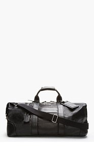 MCQ ALEXANDER MCQUEEN Black Coated Canvas Leather-Trimmed Weekender Duffle for men