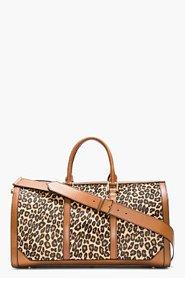 BURBERRY PRORSUM Tan Leopard Print Calf-Hair House Check Duffle Bag for men