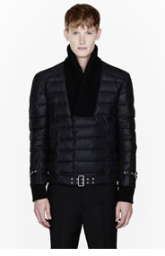 BALMAIN Black quilted knit-trim quilted bomber for men