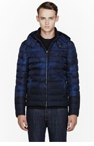 VALENTINO BLUE CAMOFLAGUE Quilted DOWN JACKET for men