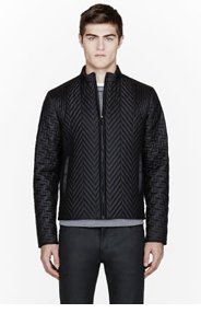 CALVIN KLEIN COLLECTION Black Quilted Herringbone BARIO jacket for men