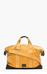 KRISVANASSCHE Tan Suede Leather-TRimmed Duffle Bag for men