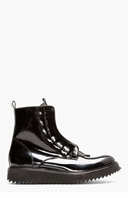 DAMIR DOMA Black Patent Leather Fusco Boots for men