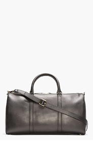 VALENTINO Black Leather Boston Duffle Bag for men
