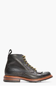 N.D.C. MADE BY HAND Black Leather Burford Semi-Brogue Trapper Boots for men