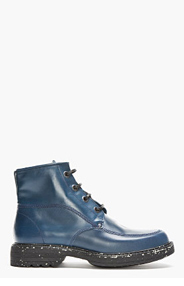 KENZO Dark Teal Leather Speckled Ronnie Military Boots for men