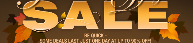 be quick - some deals last just one day at up to 90 percent off!