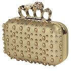 Womens Gold Knuckle Skull Studded Gold Clutch
