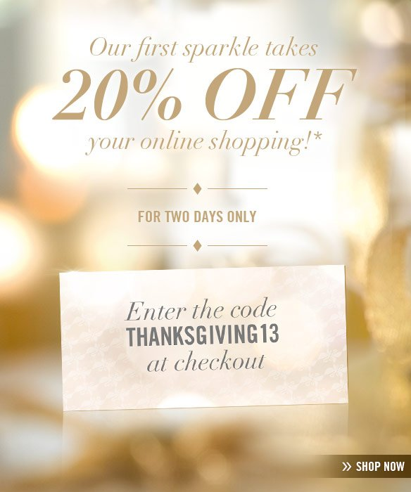 Enter the code THANKSGIVING13 at checkout for two days only