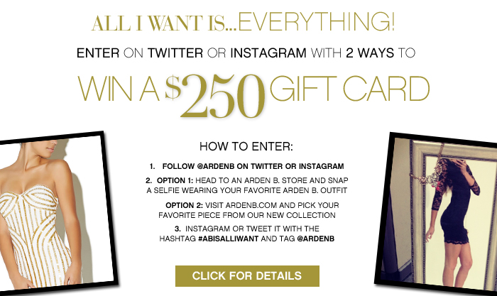 Win a $250 Arden B. Gift Card