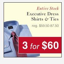 Executive Dress Shirts & Ties - 3 for $60 USD