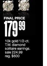 FINAL PRICE $179.99 10k gold 1/2-ct. T.W. diamond solitaire earrings. sale  224.99 reg. $600