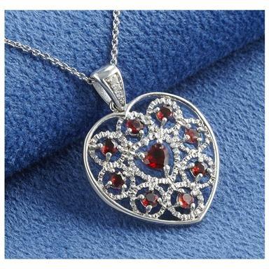 Garnet & Diamond Heart Necklace by Millennium Creations