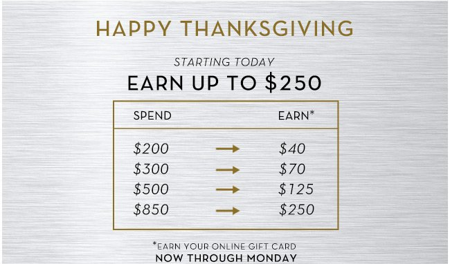 Happy Thanksgiving | Earn up to $250