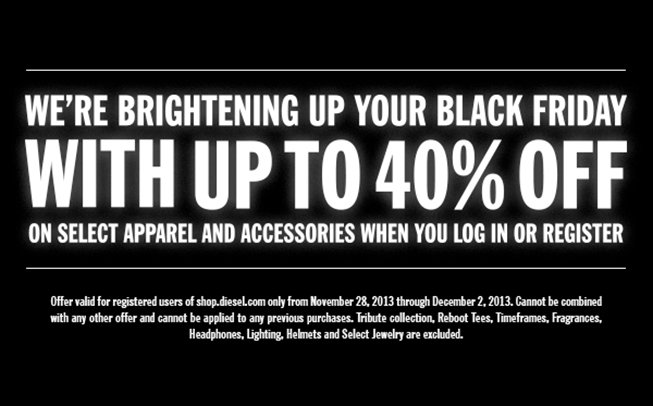 WE'RE BRIGHTENING UP YOUR BLACK FRIDAY WITH UP TO 40% OFF.