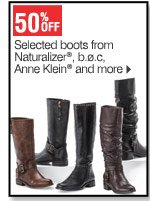 50% off Selected boots from Naturalizer® b.o.c,      Anne Klein&reg and more