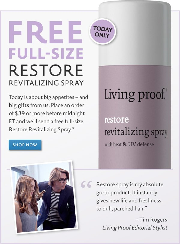 Free FULL SIZE Restore Revitalizing Spray with orders of $39+