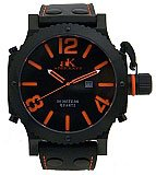 Adee Kaye AK7211-MIPB Black Dial Orange Number Men's Oversized Quartz Military Watch