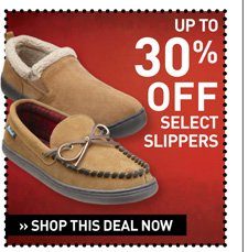 Up to 30% off Select Slippers