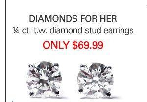 Diamond Stud Earrings Only $69.99