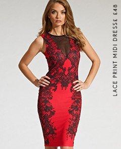 Lace Print Midi Dress