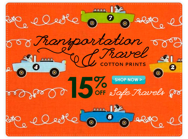 15% Off Travel and Transportation Cotton Prints
