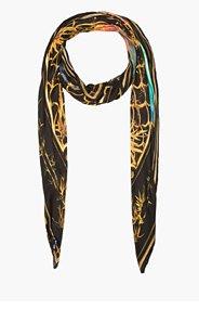 BALMAIN Gold-framed multicolor print scarf for women