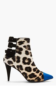 GIUSEPPE ZANOTTI Ivory Leopard Print Calf-Hair Cam Klein Ankle Boots for women