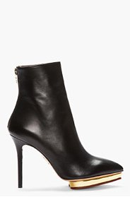 CHARLOTTE OLYMPIA Black Leather Pointed Zip Deborah Ankle Boots for women