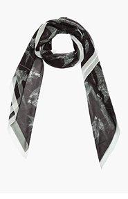 MCQ ALEXANDER MCQUEEN Black Sheer Silk Swallow Print Scarf for women
