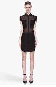 T BY ALEXANDER WANG Black sheer paneled Silk Chiffon Shirtdress for women