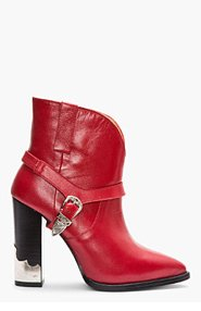 TOGA PULLA Red Leather Silver-trimmed heeled boots for women