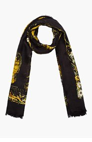 ALEXANDER MCQUEEN Washed black gold skull Rhombic scarf for women