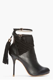 SOPHIA WEBSTER Black Leather TAsseled Kendall Ankle Boots for women