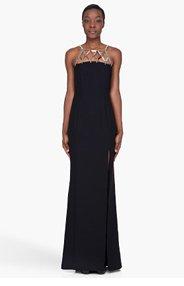 VERSACE Black Silk Metal Lattice Trim Dress for women