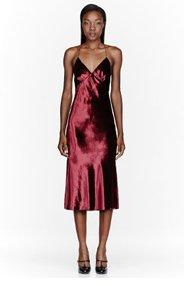 MARC JACOBS Burgundy Velveteen & silk Crossback Dress for women
