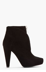PROENZA SCHOULER Black Suede Zippered Ankle Boots for women