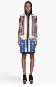 GIVENCHY Black and brown silk Paisley Scarf Print shirt Dress for women