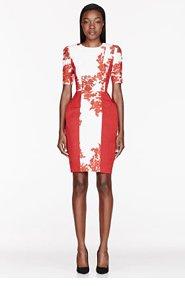 THOM BROWNE Cream & Red silk Folded Hip Dress for women