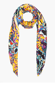 CHRISTOPHER KANE Purple multicolor Brain Scan print Scarf for women