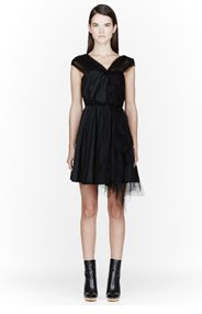 NINA RICCI Black tulle & silk knotted dress for women