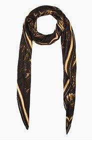 BALMAIN Gold framed print scarf for women