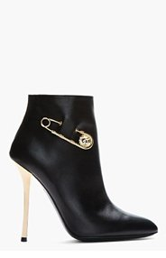 VERSUS Black leather gold-trimmed Army Boots for women