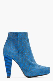 PROENZA SCHOULER Blue Suede Printed Ankle Boots for women