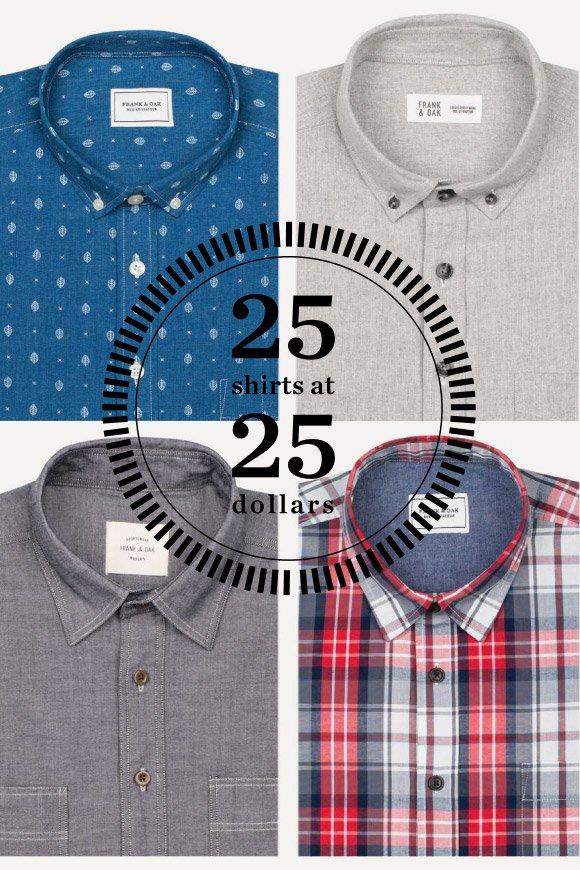 25 Shirts At 25 Dollars